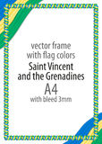 Frame and border of ribbon with the colors of the Saint Vincent and the Grenadines flag Royalty Free Stock Photography