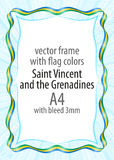 Frame and border of ribbon with the colors of the Saint Vincent and the Grenadines flag Stock Photography