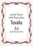 Frame and border of ribbon with the colors of the Tuvalu flag Stock Photography