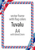Frame and border of ribbon with the colors of the Tuvalu flag Stock Image
