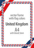 Frame and border of ribbon with the colors of the United Kingdom flag Stock Photo