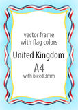 Frame and border of ribbon with the colors of the United Kingdom flag Royalty Free Stock Photo