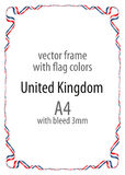 Frame and border of ribbon with the colors of the United Kingdom flag Royalty Free Stock Photos