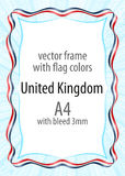 Frame and border of ribbon with the colors of the United Kingdom flag Royalty Free Stock Photography