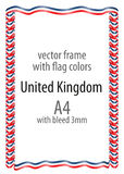 Frame and border of ribbon with the colors of the United Kingdom flag Royalty Free Stock Images