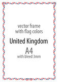 Frame and border of ribbon with the colors of the United Kingdom flag Stock Photography