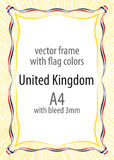 Frame and border of ribbon with the colors of the United Kingdom flag Stock Images