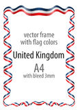 Frame and border of ribbon with the colors of the United Kingdom flag Stock Image