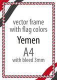 Frame and border of ribbon with the colors of the Yemen flag Royalty Free Stock Photos