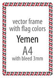 Frame and border of ribbon with the colors of the Yemen flag Stock Photos