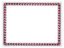 Frame and border of ribbon with the Croatia flag, edging from the golden rope. 3d illustration Stock Image