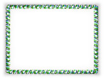 Frame and border of ribbon with the Djibouti flag, edging from the golden rope. 3d illustration Stock Images