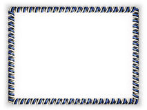Frame and border of ribbon with the Estonia flag, edging from the golden rope. 3d illustration Royalty Free Stock Photos