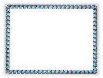 Frame and border of ribbon with the Fiji flag, edging from the golden rope. 3d illustration Royalty Free Stock Images
