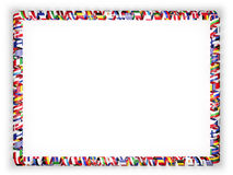 Frame and border of ribbon with flags of all countries of the European Union. 3d illustration Stock Images