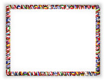 Frame and border of ribbon with flags of all countries of the European Union, edging from the golden rope. 3d illustration Royalty Free Stock Image