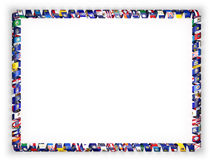 Frame and border of ribbon with flags of all countries of the European Union, edging from the golden rope. 3d illustration.  Stock Images