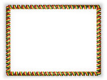 Frame and border of ribbon with the Ghana flag, edging from the golden rope. 3d illustration Stock Images