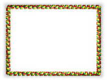 Frame and border of ribbon with the Guinea Bissau flag, edging from the golden rope. 3d illustration Royalty Free Stock Image