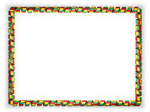 Frame and border of ribbon with the Guinea flag, edging from the golden rope. 3d illustration Stock Image