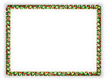 Frame and border of ribbon with the Guyana flag, edging from the golden rope. 3d illustration Stock Photography