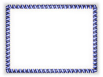 Frame and border of ribbon with the Honduras flag, edging from the golden rope. 3d illustration Royalty Free Stock Image
