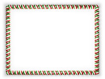 Frame and border of ribbon with the Iran flag, edging from the golden rope. 3d illustration Royalty Free Stock Photos