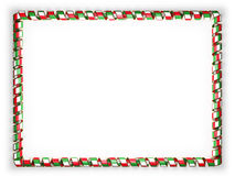 Frame and border of ribbon with the Italy flag, edging from the golden rope. 3d illustration Stock Images