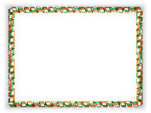 Frame and border of ribbon with the Ivory Coast flag, edging from the golden rope. 3d illustration Royalty Free Stock Photography
