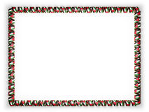 Frame and border of ribbon with the Jordan flag, edging from the golden rope. 3d illustration Royalty Free Stock Images