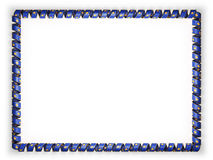 Frame and border of ribbon with the Kosovo flag, edging from the golden rope. 3d illustration Royalty Free Stock Photos