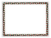 Frame and border of ribbon with the Kuwait flag, edging from the golden rope. 3d illustration Royalty Free Stock Photos
