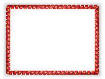 Frame and border of ribbon with the Kyrgyzstan flag, edging from the golden rope. 3d illustration Stock Image