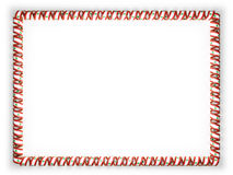 Frame and border of ribbon with the Lebanon flag, edging from the golden rope. 3d illustration Royalty Free Stock Photo