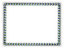 Frame and border of ribbon with the Lesotho flag, edging from the golden rope. 3d illustration Stock Photo