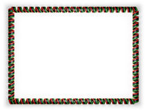 Frame and border of ribbon with the Libya flag, edging from the golden rope. 3d illustration Stock Photo