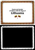 Frame and border of ribbon with the Lithuania flag for diplomas, congratulations, certificates. Alpha channel. 3d illustration Stock Photos