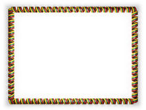 Frame and border of ribbon with the Lithuania flag, edging from the golden rope. 3d illustration Royalty Free Stock Photos