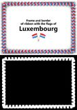 Frame and border of ribbon with the Luxembourg flag for diplomas, congratulations, certificates. Alpha channel. 3d illustration Stock Image