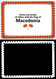 Frame and border of ribbon with the Macedonia flag for diplomas, congratulations, certificates. Alpha channel. 3d illustration Stock Photo