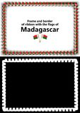 Frame and border of ribbon with the Madagascar flag for diplomas, congratulations, certificates. Alpha channel. 3d illustration Royalty Free Stock Image