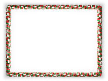 Frame and border of ribbon with the Madagascar flag, edging from the golden rope. 3d illustration Stock Photo