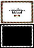 Frame and border of ribbon with the Malawi flag for diplomas, congratulations, certificates. Alpha channel. 3d illustration Stock Images
