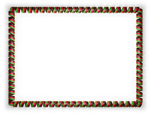 Frame and border of ribbon with the Malawi flag, edging from the golden rope. 3d illustration Stock Photography