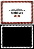 Frame and border of ribbon with the Maldives flag for diplomas, congratulations, certificates. Alpha channel. 3d illustration Stock Photography