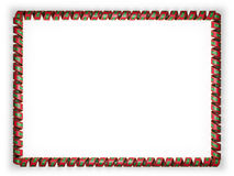 Frame and border of ribbon with the Maldives flag, edging from the golden rope. 3d illustration Royalty Free Stock Image