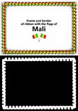 Frame and border of ribbon with the Mali flag for diplomas, congratulations, certificates. Alpha channel. 3d illustration Royalty Free Stock Photo