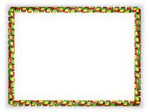Frame and border of ribbon with the Mali flag, edging from the golden rope. 3d illustration Stock Photo