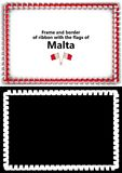 Frame and border of ribbon with the Malta flag for diplomas, congratulations, certificates. Alpha channel. 3d illustration Stock Image