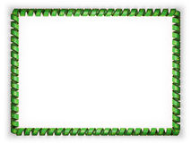 Frame and border of ribbon with the Mauritania flag, edging from the golden rope. 3d illustration Stock Photo